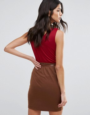 photo Pencil Dress With Waist Belt by Pussycat London, color Red/Brown - Image 2