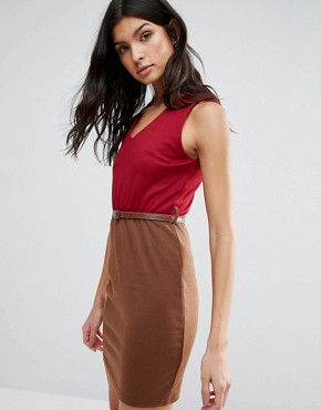 photo Pencil Dress With Waist Belt by Pussycat London, color Red/Brown - Image 1