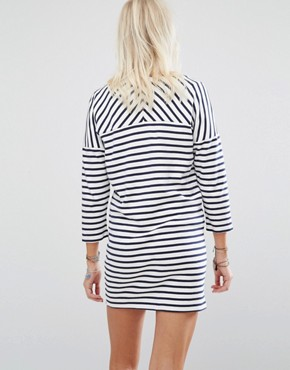photo Stripe Lip Motif Sweater Dress by Maison Scotch, color White/Blue - Image 2