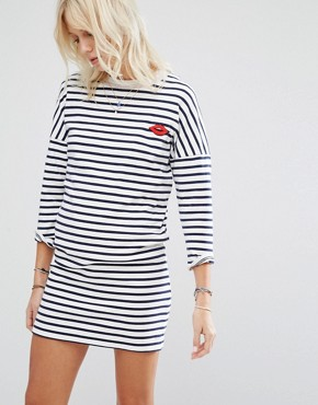 photo Stripe Lip Motif Sweater Dress by Maison Scotch, color White/Blue - Image 1