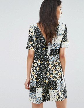 photo Button Front Tea Dress In Patchwork Floral Print by Glamorous Tall, color  - Image 2