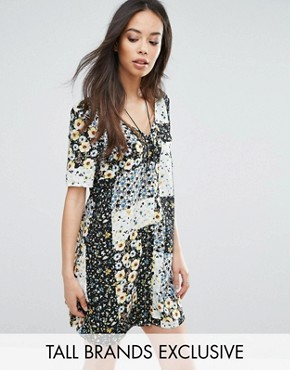 photo Button Front Tea Dress In Patchwork Floral Print by Glamorous Tall, color  - Image 1