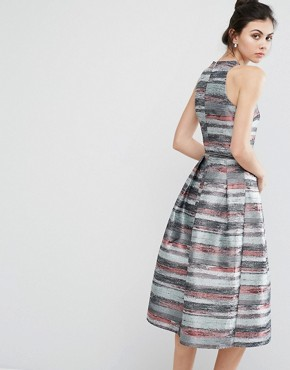 photo Full Prom Skater Dress In Stripe Jacquard by Little Mistress Tall, color  - Image 2