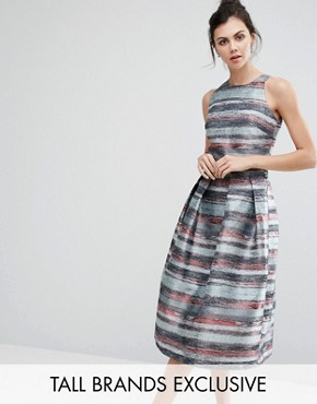 photo Full Prom Skater Dress In Stripe Jacquard by Little Mistress Tall, color  - Image 1
