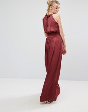 photo Ruched Pleated Maxi Prom Dress by Little Mistress Tall, color Wine - Image 2
