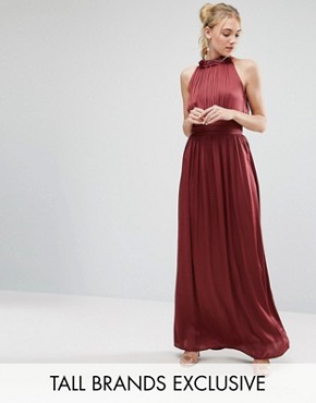 photo Ruched Pleated Maxi Prom Dress by Little Mistress Tall, color Wine - Image 1