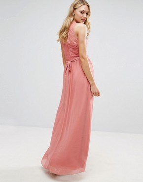 photo Allover Lace Top Maxi Dress with Applique Belt Detail by Little Mistress Tall, color Rose - Image 2