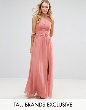 photo Allover Lace Top Maxi Dress with Applique Belt Detail by Little Mistress Tall, color Rose - Image 1