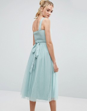 photo Full Prom Tulle One Shoulder Midi Dress with Lace Applique by Little Mistress Tall, color Turquoise - Image 2