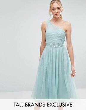 photo Full Prom Tulle One Shoulder Midi Dress with Lace Applique by Little Mistress Tall, color Turquoise - Image 1