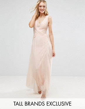 photo Pleated Wrapover Maxi Dress with Lace Trim by Little Mistress Tall, color Nude - Image 1