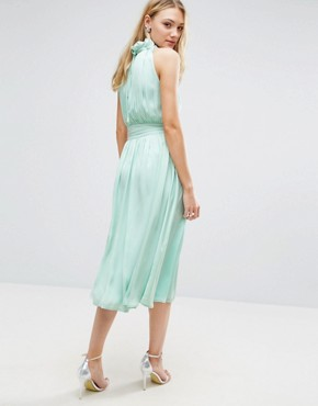 photo Ruched Pleated Midi Prom Skater Dress by Little Mistress Tall, color Mint - Image 2