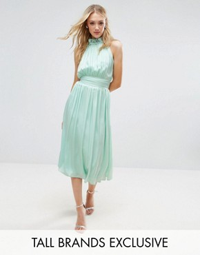 photo Ruched Pleated Midi Prom Skater Dress by Little Mistress Tall, color Mint - Image 1