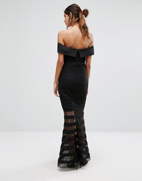 photo Allover Lace Bardot Midi Dress with Fluted Hem by Jarlo Tall, color Black - Image 2