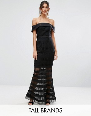 photo Allover Lace Bardot Midi Dress with Fluted Hem by Jarlo Tall, color Black - Image 1