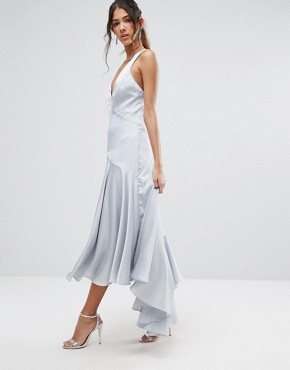 photo Drop Hem Pleated Midi Dress with Cross Back Detail by Jarlo Tall, color Pale Blue - Image 2