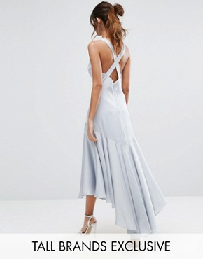 photo Drop Hem Pleated Midi Dress with Cross Back Detail by Jarlo Tall, color Pale Blue - Image 1