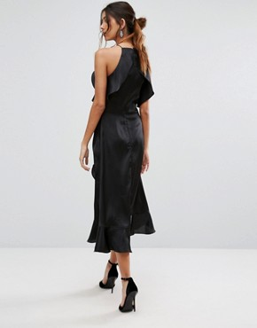 photo High Neck Ruffle Detail Cami Midi Dress by Jarlo Tall, color Black - Image 2