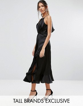 photo High Neck Ruffle Detail Cami Midi Dress by Jarlo Tall, color Black - Image 1