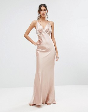 photo Cami Strap Slinky Maxi Dress with Lace Insert by Jarlo Tall, color Nude - Image 2