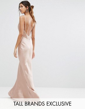 photo Cami Strap Slinky Maxi Dress with Lace Insert by Jarlo Tall, color Nude - Image 1