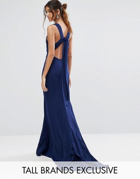 photo Maxi Dress with Bow Tie Back by Jarlo Tall, color Navy - Image 1