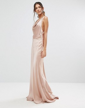 photo Slinky Cowl Front Maxi Dress with Strappy Back Detail by Jarlo Tall, color Nude - Image 2