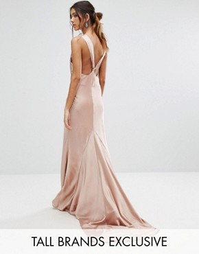 photo Slinky Cowl Front Maxi Dress with Strappy Back Detail by Jarlo Tall, color Nude - Image 1