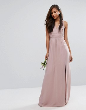 photo Pleated Maxi Dress with Open Back Detail by TFNC Tall Wedding, color Mauve - Image 2