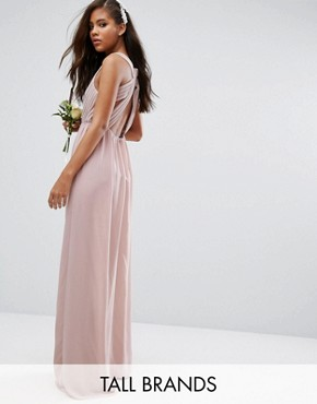 photo Pleated Maxi Dress with Open Back Detail by TFNC Tall Wedding, color Mauve - Image 1