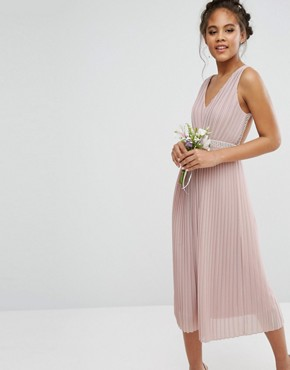 photo Embellished Open Back Midi Prom Skater Dress by TFNC Tall Wedding, color Mauve - Image 2