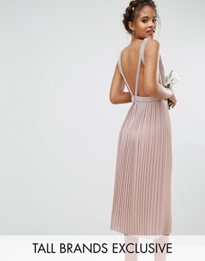 photo Embellished Open Back Midi Prom Skater Dress by TFNC Tall Wedding, color Mauve - Image 1