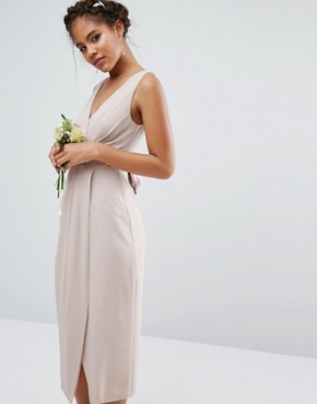photo Wrap Midi Dress with Bow Back by TFNC Tall Wedding, color Mink - Image 2