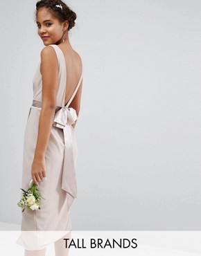photo Wrap Midi Dress with Bow Back by TFNC Tall Wedding, color Mink - Image 1