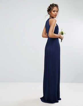 photo Pleated Maxi Dress by TFNC Tall Wedding, color Navy - Image 2