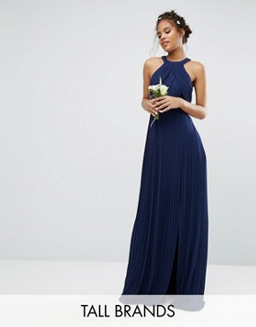 photo Pleated Maxi Dress by TFNC Tall Wedding, color Navy - Image 1