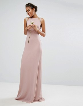 photo High Neck Maxi Dress with Embellished Low Back by TFNC Tall Wedding, color Mauve - Image 2