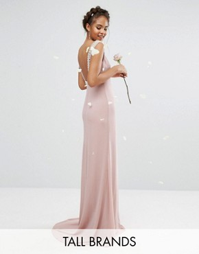photo High Neck Maxi Dress with Embellished Low Back by TFNC Tall Wedding, color Mauve - Image 1
