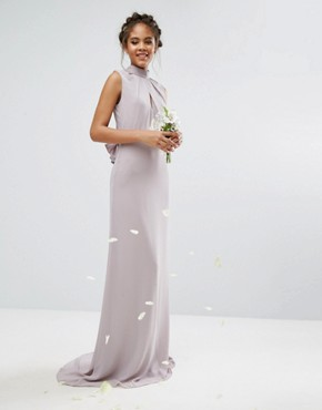 photo High Neck Maxi Dress with Bow Back by TFNC Tall Wedding, color Grey - Image 2