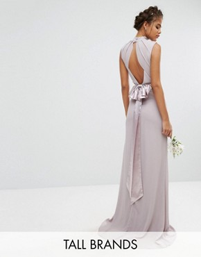 photo High Neck Maxi Dress with Bow Back by TFNC Tall Wedding, color Grey - Image 1