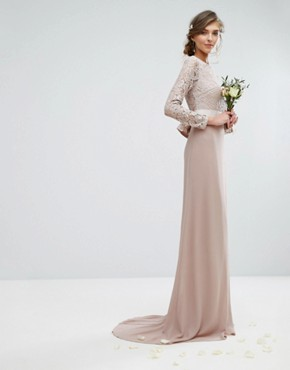 photo Lace Maxi Dress with Bow Back by TFNC Tall Wedding, color Mink - Image 2