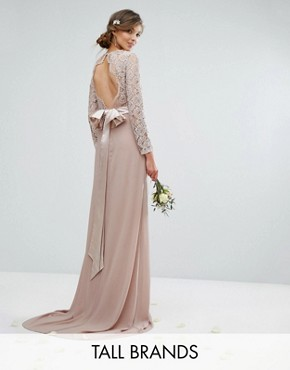 photo Lace Maxi Dress with Bow Back by TFNC Tall Wedding, color Mink - Image 1