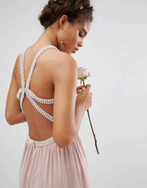 photo Embellished Maxi Dress with Jewel Strappy Back by TFNC Tall Wedding, color Mauve - Image 2