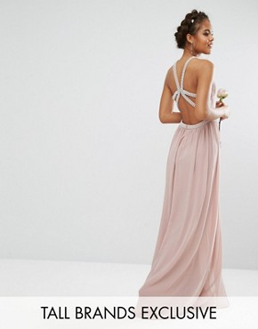 photo Embellished Maxi Dress with Jewel Strappy Back by TFNC Tall Wedding, color Mauve - Image 1