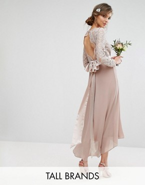 photo Lace Midi Dress with Bow Back by TFNC Tall Wedding, color Mink - Image 1