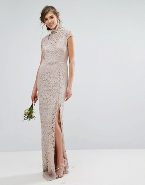 photo High Neck Lace Dress with Cap Sleeve by TFNC Tall Wedding, color Mink - Image 2