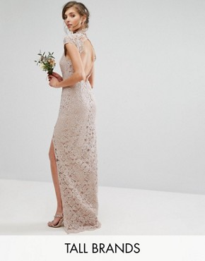 photo High Neck Lace Dress with Cap Sleeve by TFNC Tall Wedding, color Mink - Image 1
