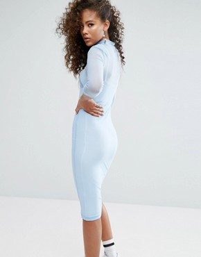 photo Mesh Overlay Midi Bodycon Dress with Front Logo Detail by Fila Tall, color Pastel Blue - Image 2