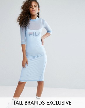 photo Mesh Overlay Midi Bodycon Dress with Front Logo Detail by Fila Tall, color Pastel Blue - Image 1
