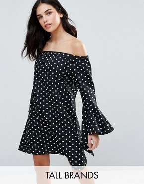 photo Bardot Dress In Polka Dot by Influence Tall, color Black - Image 1